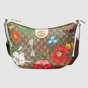 Gucci GG Women GG Flora Shoulder Bag BeigeEbony Supreme Canvas