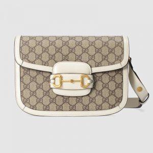 Gucci GG Women Gucci 1955 Horsebit Small Shoulder Bag-White