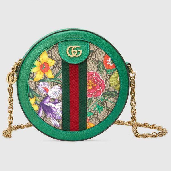 Gucci GG Women Ophidia GG Flora Mini Round Shoulder Bag