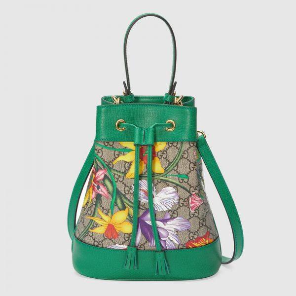 Gucci GG Women Ophidia GG Flora Small Bucket Bag-Green