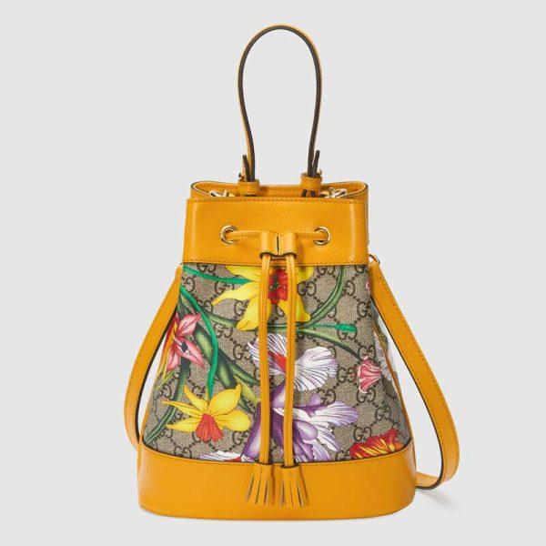 Gucci GG Women Ophidia GG Flora Small Bucket Bag-Yellow