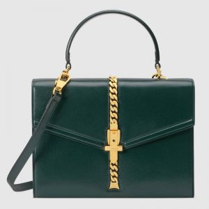 Gucci GG Women Sylvie 1969 Small Top Handle Bag Textured Leather-Green