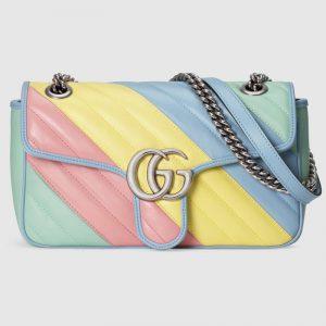 Gucci Women GG Marmont Small Shoulder Bag Matelassé Chevron Leather-Green