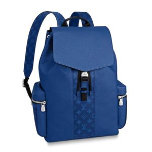 Louis Vuitton LV Unisex Outdoor Backpack Taiga Cowhide Leather-Blue