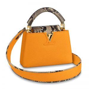 Louis Vuitton LV Women Capucines Mini Handbag Jewel-Tone Taurillon-Yellow