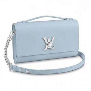Louis Vuitton LV Women Lockme Clutch Soft Grained Calfskin-Blue