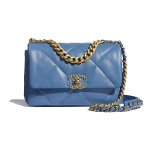 Chanel Women Chanel 19 Flap Bag in Lambskin Leather-Blue