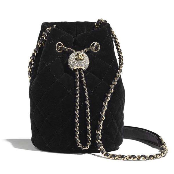 Chanel Women Drawstring Bag Velvet Strass & Silver-Tone Metal-Black