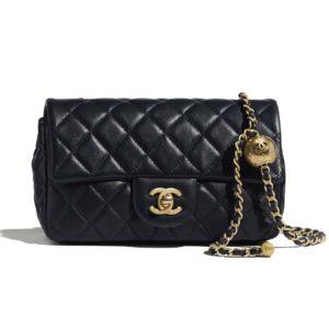 Chanel Women Flap Bag Lambskin & Gold-Tone Metal-Black