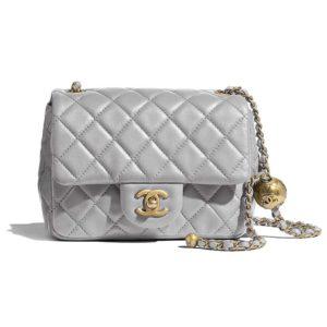 Chanel Women Flap Bag Lambskin & Gold-Tone Metal-Grey