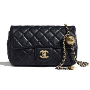 Chanel Women Flap Bag Lambskin & Gold-Tone Metal-Navy