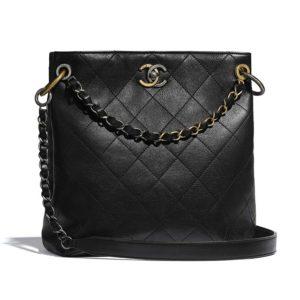 Chanel Women Hobo Handbag in Calfskin Leather-Black