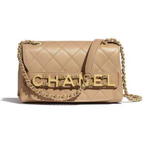 Chanel Women Small Flap Bag in Calfskin Leather-Beige
