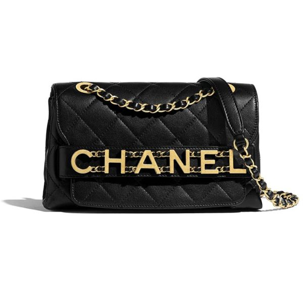 Chanel Women Small Flap Bag in Calfskin Leather-Black