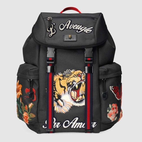 Gucci GG Unisex Backpack with Embroidery Black Techno Canvas
