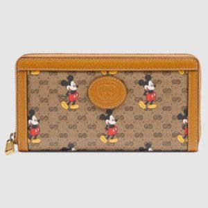 Gucci GG Unisex Disney x Gucci Zip Around Wallet-Brown