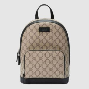 Gucci GG Unisex Eden Small Backpack BeigeEbony GG Supreme Canvas