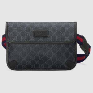 Gucci GG Unisex GG Black Belt Bag GG Supreme Canvas