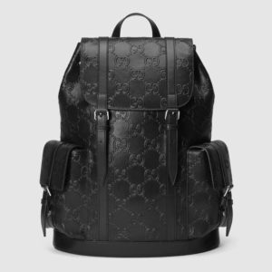 Gucci GG Unisex GG Embossed Backpack Black GG Embossed Leather