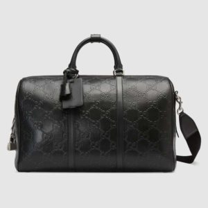 Gucci GG Unisex GG Embossed Duffle Bag Black Embossed Leather