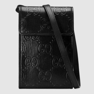 Gucci GG Unisex GG Embossed Mini Bag Black Embossed Leather
