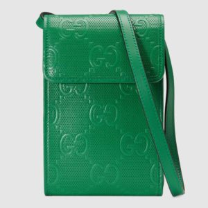 Gucci GG Unisex GG Embossed Mini Bag Green Embossed Leather