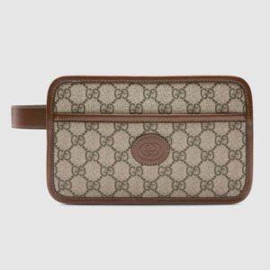 Gucci GG Unisex GG Travel Pouch with Interlocking G-Beige