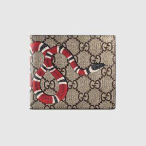 Gucci GG Unisex Kingsnake Print GG Supreme Coin Wallet-Beige