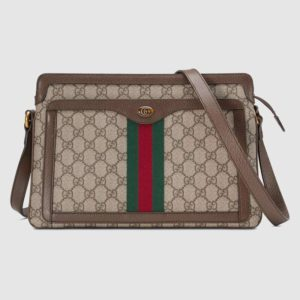 Gucci GG Unisex Ophidia GG Medium Shoulder Bag-Brown