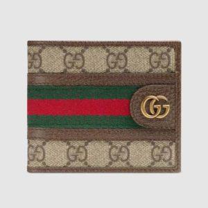 Gucci GG Unisex Ophidia GG Wallet BeigeEbony GG Supreme Canvas