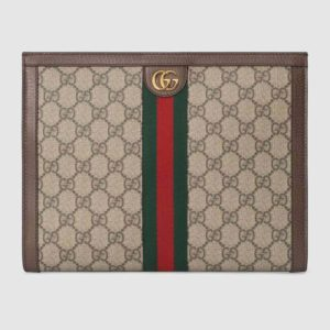 Gucci GG Unisex Ophidia Pouch BeigeEbony GG Supreme Canvas