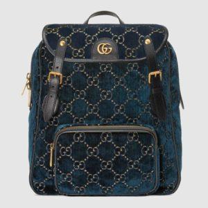 Gucci GG Unisex Small GG Velvet Backpack Blue Beige GG Velvet