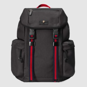 Gucci GG Unisex Techno Canvas Backpack Black Techno Canvas