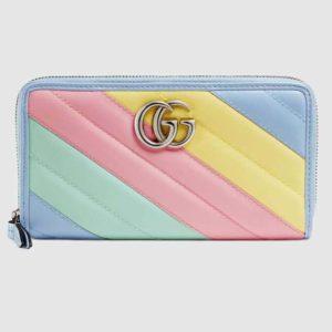 Gucci GG Women GG Marmont Zip Around Wallet Matelassé Leather-Aqua