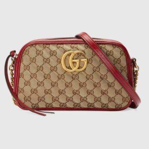 Gucci Women GG Marmont Small Shoulder Bag Matelassé Original Canvas-Red