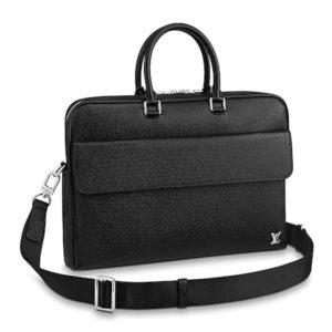 Louis Vuitton LV Men Alex Briefcase Embossed Taiga Cowhide Leather
