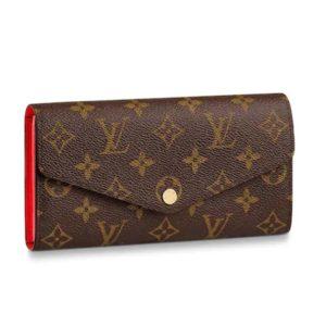 Louis Vuitton LV Women Sarah Wallet Monogram Coated Canvas-Red