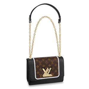 Louis Vuitton LV Women Twist MM Handbag Monogram Coated Canvas
