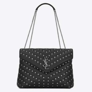 Saint Laurent YSL Women Loulou Medium Leather and Studs-Black