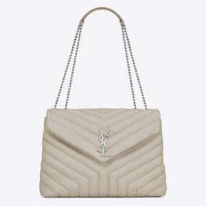 Saint Laurent YSL Women Loulou Medium Matelasse Y Leather-White