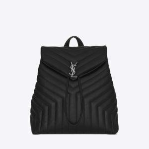 Saint Laurent YSL Women Medium Loulou Backpack Black Y Matelass