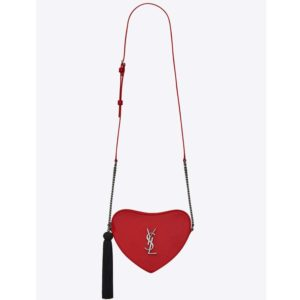 Saint Laurent YSL Women Monogram Heart Cross Body Bag-Red