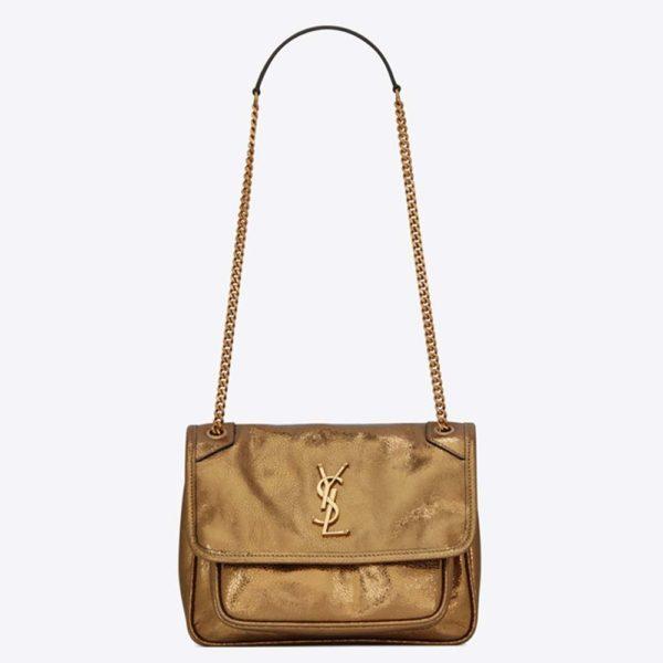 Saint Laurent YSL Women Niki Baby Lame Leather Shagreen Look-Gold