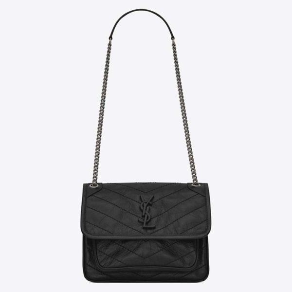 Saint Laurent YSL Women Niki Baby in Crinkled Vintage Leather Bag-Black