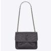 Saint Laurent YSL Women Niki Baby in Crinkled Vintage Leather Bag-Grey