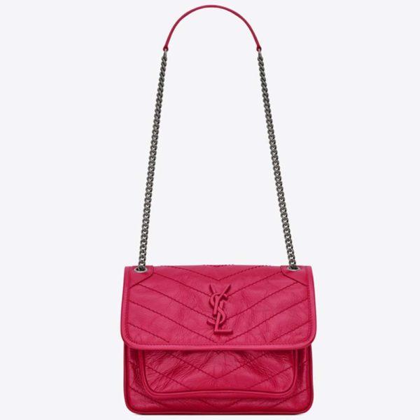 Saint Laurent YSL Women Niki Baby in Crinkled Vintage Leather Bag-Rose