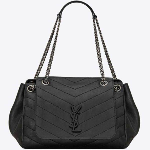Saint Laurent YSL Women Nolita Medium Bag Vintage Leather-Black