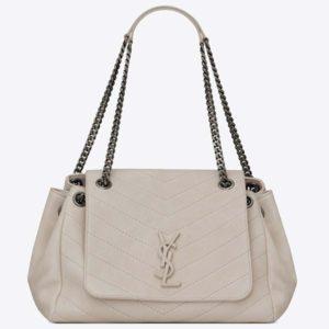 Saint Laurent YSL Women Nolita Medium Bag Vintage Leather-White