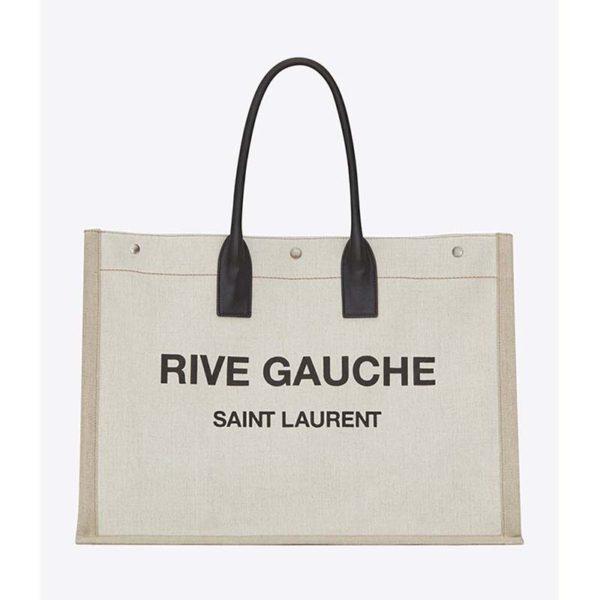 Saint Laurent YSL Women Rive Gauche Tote Bag Linen Leather