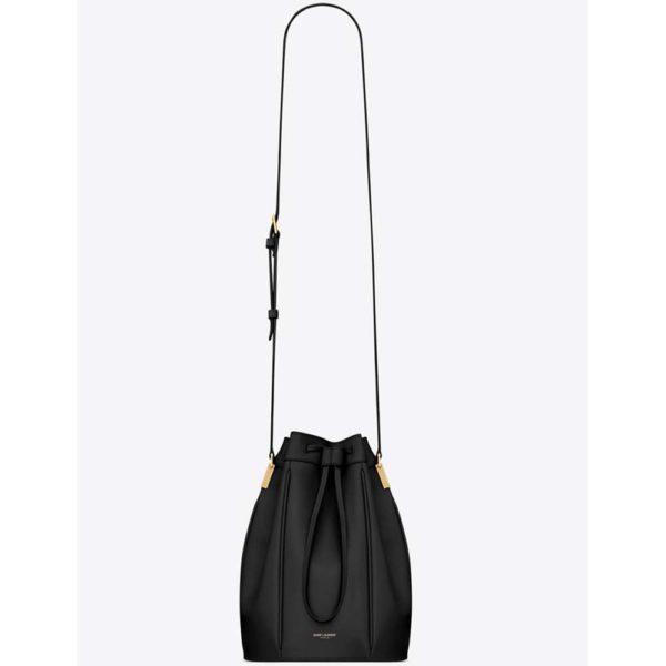 Saint Laurent YSL Women Saffiano Leather Mini Shoulder Bag-Black